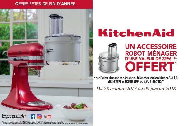 Accessoire robot ménager kitchenaid offert